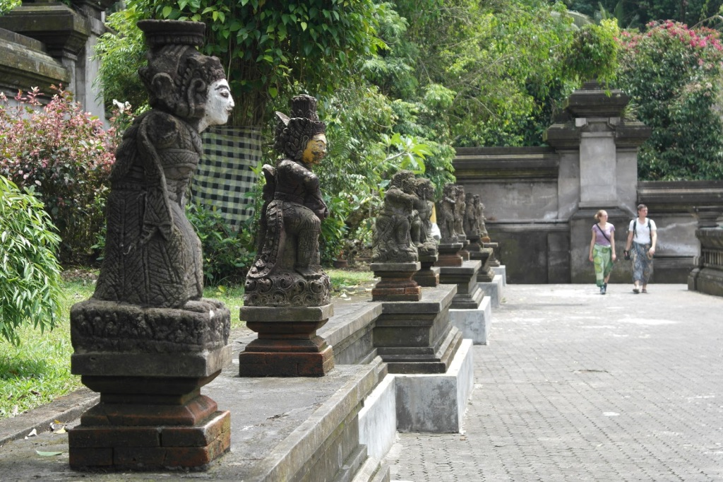 statue line in ubud temple bali