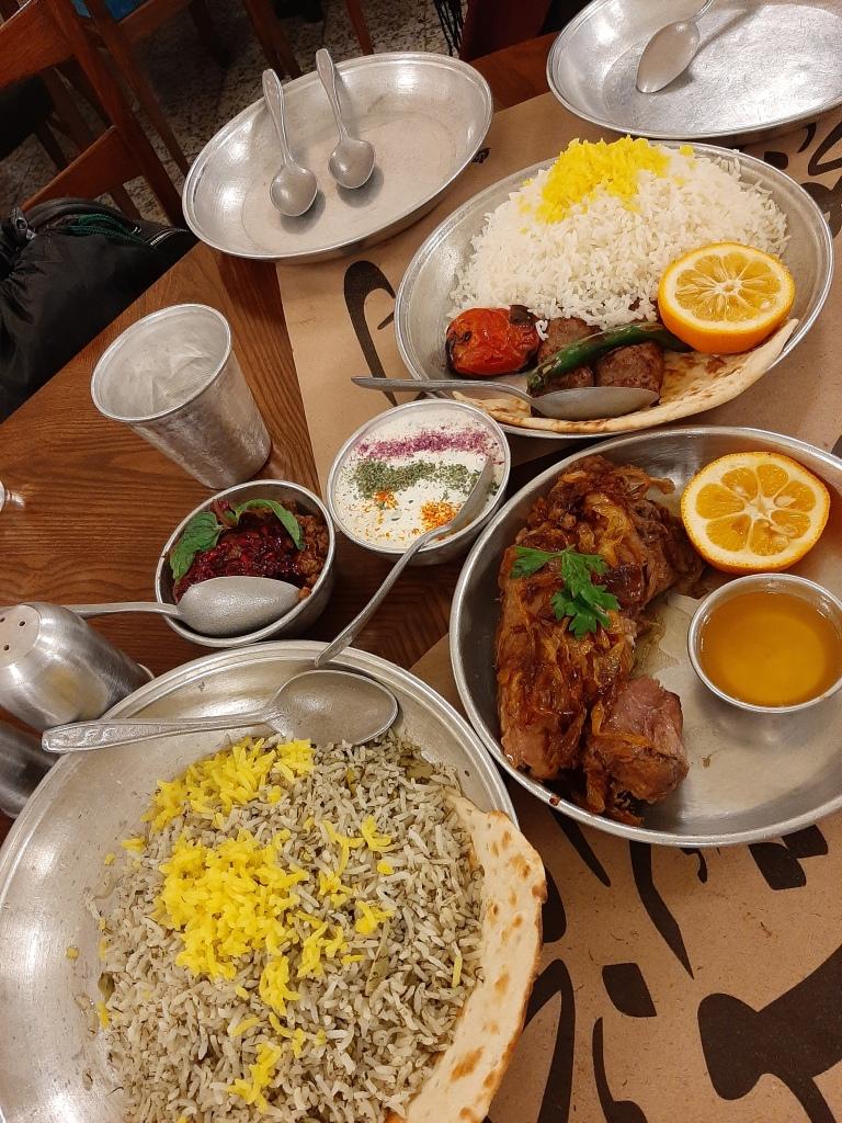 iranian food lamb neck kebab saffron rice roohi tehran