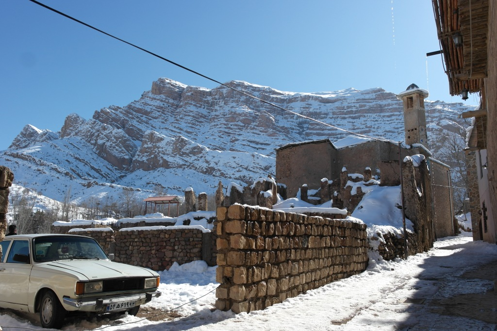 iran snowy town in mountains close to shiraz