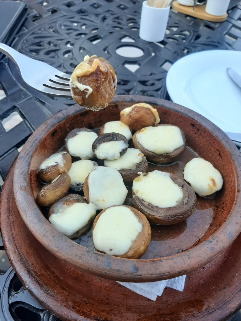 georgian food sulguni cheese stuffed mushrooms