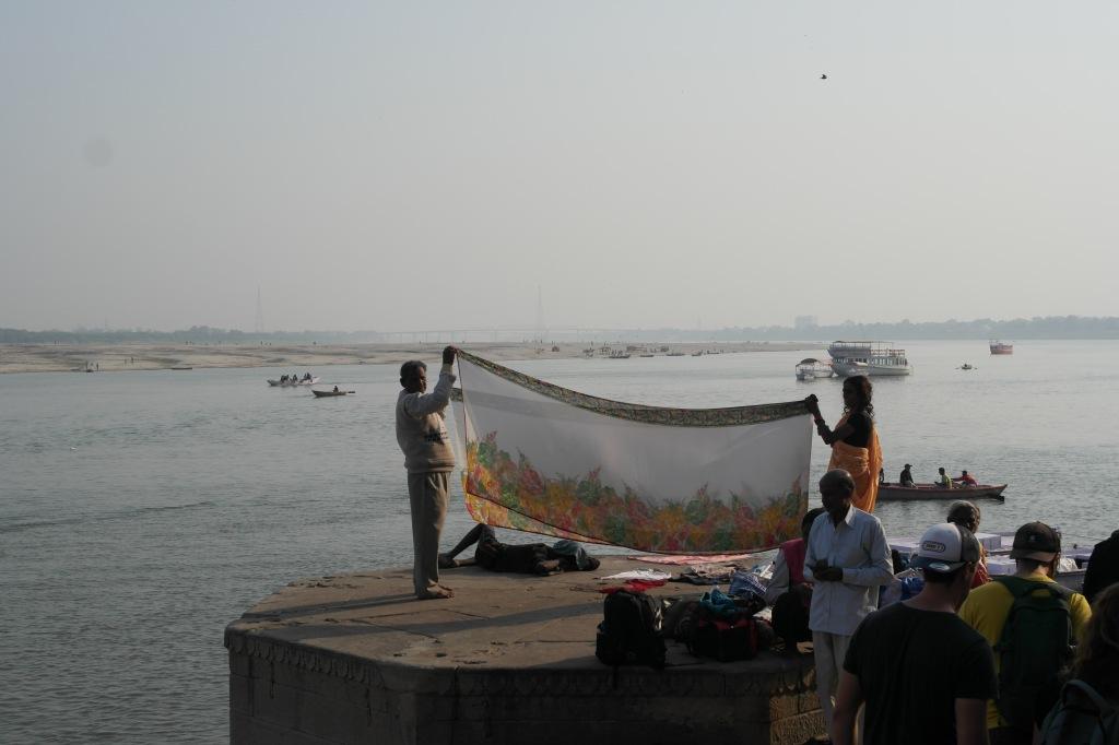 varanasi india ganges folding clothes