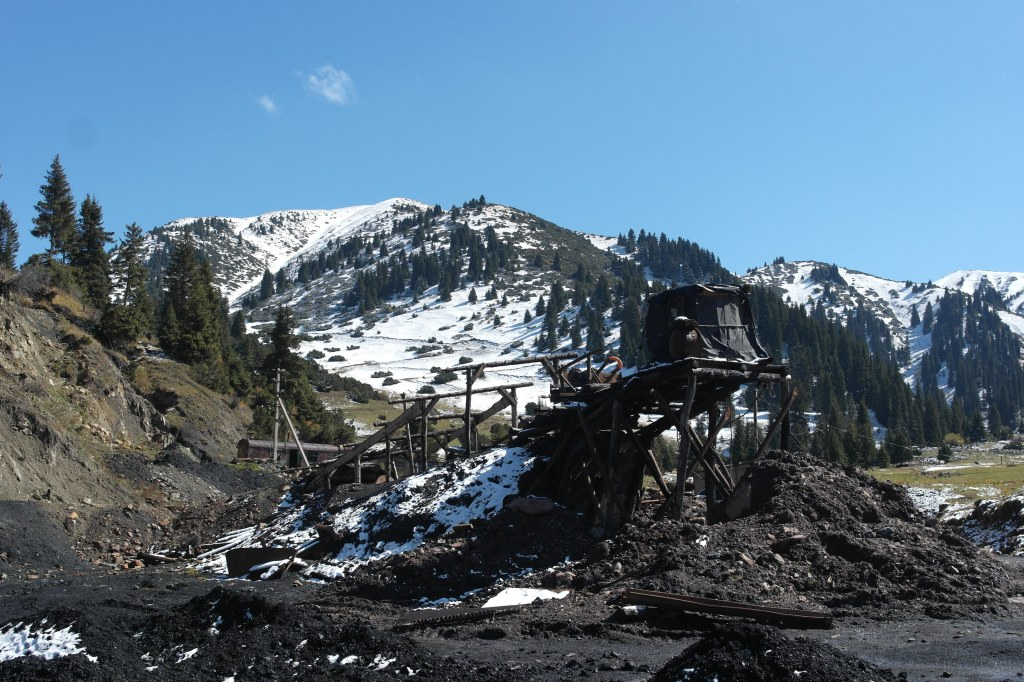 Jyrgalan coal mine entrance Kyrgyzstan