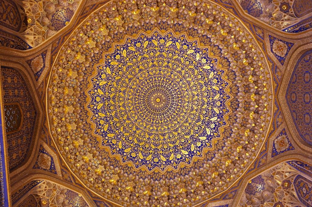 Samarkand Registan Square Golden ceiling Tilya-Kori Madrasah