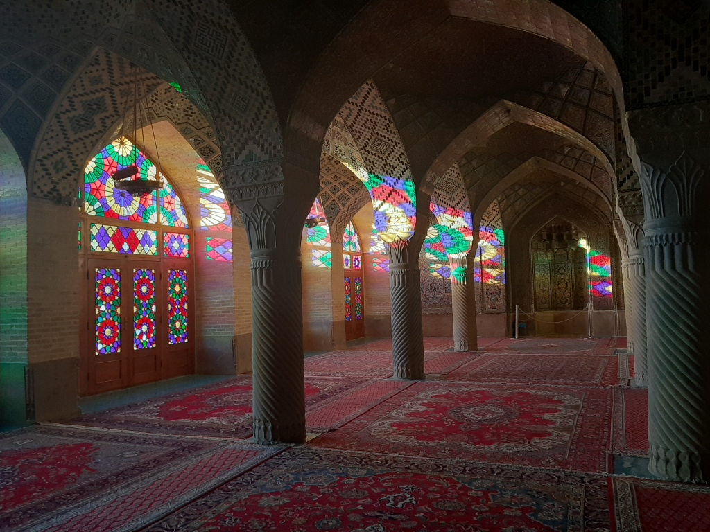 pink mosque shiraz beginning of sunset