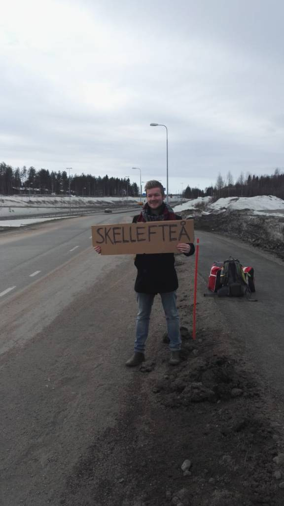 hitchhiking in northern sweden