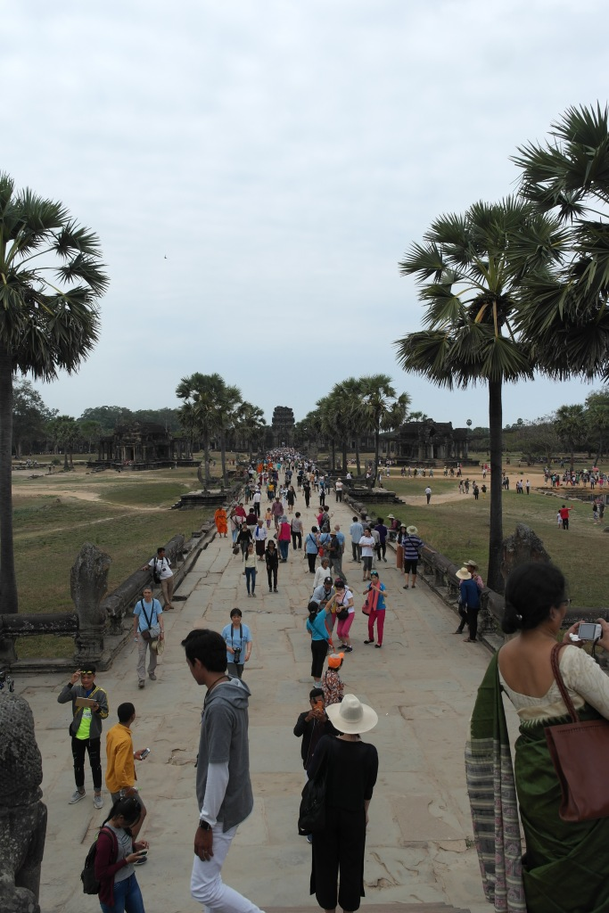 tourist masses in angkor wat cambodia